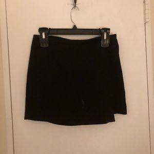 Black Front Flap Mini Skirt